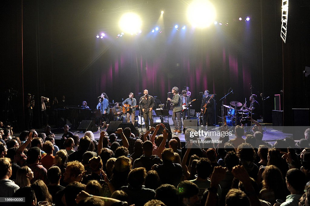 Alecia Chakour (L) and Eric D. Johnson and the tribute band perform during the Last Waltz Tribute Concert at The Warfield on November 24, 2012 in San Francisco, California.