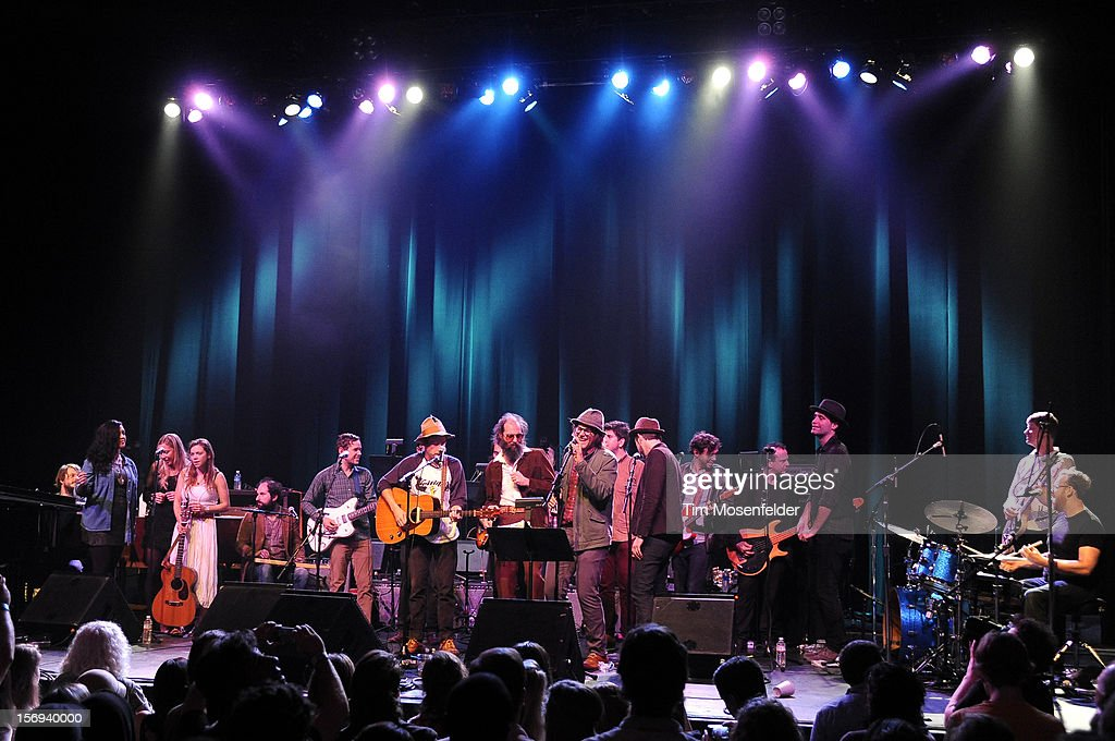 Alecia Chakour, Blake Hazard, Scott McMicken, Eric D. Johnson, Andy Cabic, Nels Cline and the tribute band perform the finale during the Last Waltz Tribute Concert at The Warfield on November 24, 2012 in San Francisco, California.