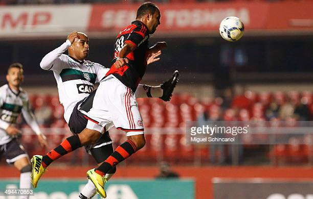 Alecsandro of Flamengo head shoots of scoring the first goal during a match between Flamengo and Figueirense of Brasileirao Series A 2014 at Morumbi...