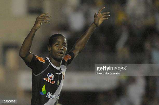 Alecsandro of Vasco da Gama celebrate a goal during a match between Vasco da Gama and Universidario as part of Quarterfinals of Bridgestone South...