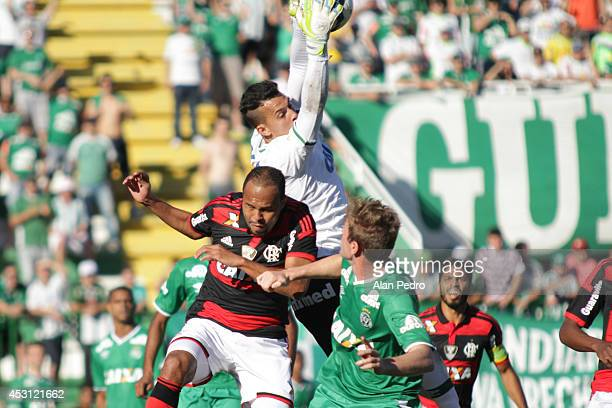 Alecssandro of the Flamengo and goalkeeper Danilo of Chapecoense compete for a header during the between Chapecoense and Flamengo for the Brazilian...
