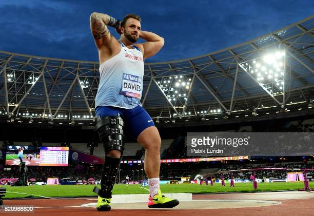 Aled Davies of Great Britain reacts during the final mens shot put F42 on day nine of the IPC World ParaAthletics Championships 2017 at London...