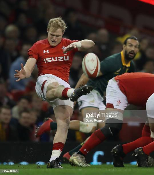 Aled Davies of Wales kicks the ball upfield during the rugby union international match between Wales and South Africa at the Principality Stadium on...