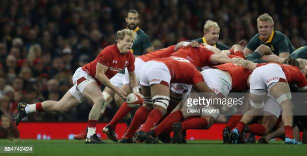 Aled Davies of Wales passes the ball during the rugby union international match between Wales and South Africa at the Principality Stadium on...