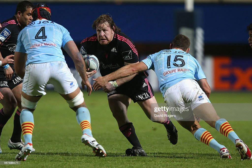 <a gi-track='captionPersonalityLinkClicked' href=/galleries/search?phrase=Aled+de+Malmanche&family=editorial&specificpeople=1036719 ng-click='$event.stopPropagation()'>Aled de Malmanche</a> of Stade Francais charges upfield during the Amlin Challenge Cup Semi Final between Perpignan and Stade Francais at Stade Aime Giral on April 26, 2013 in Perpignan, France.