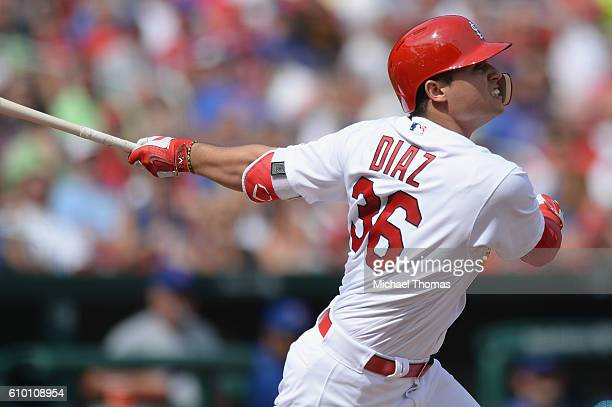 Aledmys Diaz of the St Louis Cardinals bats against the Chicago Cubs at Busch Stadium on September 14 2016 in St Louis Missouri