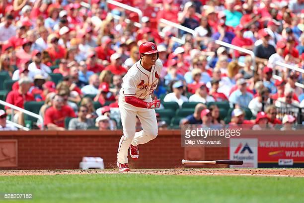 Aledmys Diaz of the St Louis Cardinals bats against the Cincinnati Reds at Busch Stadium on April 16 2016 in St Louis Missouri