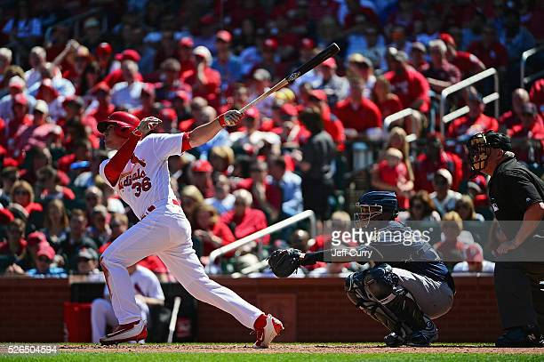 Aledmys Diaz of the St Louis Cardinals bats against the Milwaukee Brewers at Busch Stadium on April 14 2016 in St Louis Missouri