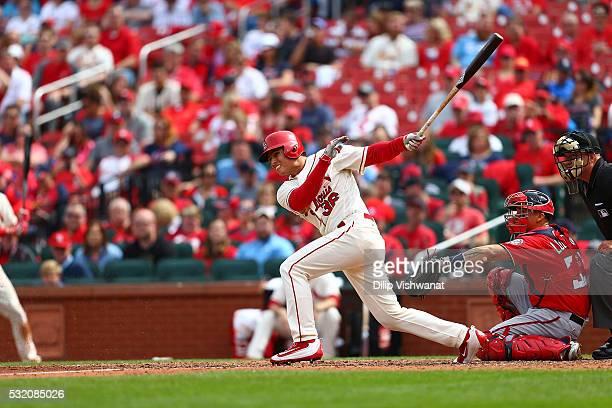 Aledmys Diaz of the St Louis Cardinals bats against the Washington Nationals at Busch Stadium on April 30 2016 in St Louis Missouri