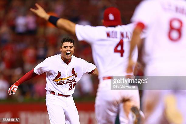Aledmys Diaz of the St Louis Cardinals celebrates after hitting a walkoff single against San Diego Padres in the ninth inning at Busch Stadium on...