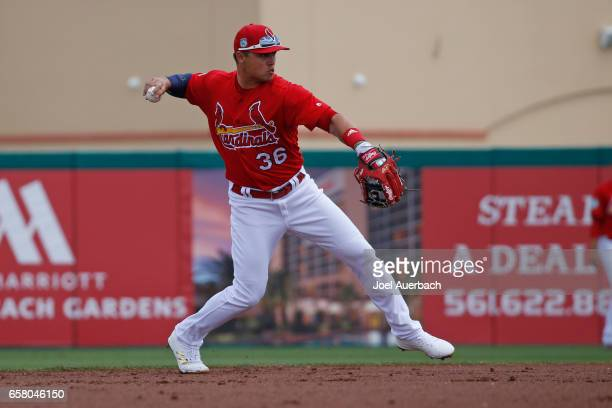Aledmys Diaz of the St Louis Cardinals fields the ball off the bat of Derek Dietrich of the Miami Marlins for the second out of the second inning...