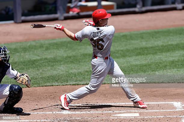 Aledmys Diaz of the St Louis Cardinals hits a single during the third inning against the Milwaukee Brewers at Miller Park on May 30 2016 in Milwaukee...