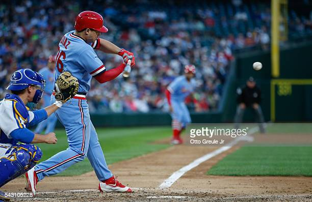 Aledmys Diaz of the St Louis Cardinals hits a threerun home run against the Seattle Mariners in the fifth inning at Safeco Field on June 25 2016 in...