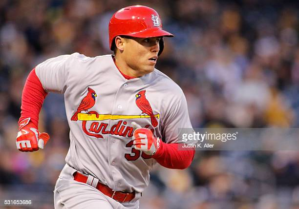 Aledmys Diaz of the St Louis Cardinals in action during the game against the Pittsburgh Pirates at PNC Park on April 5 2016 in Pittsburgh Pennsylvania