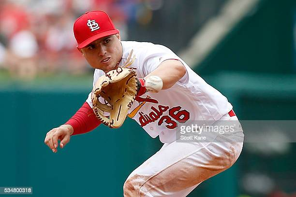 Aledmys Diaz of the St Louis Cardinals makes a play during a baseball game against the Chicago Cubs at Busch Stadium on May 25 2016 in St Louis...