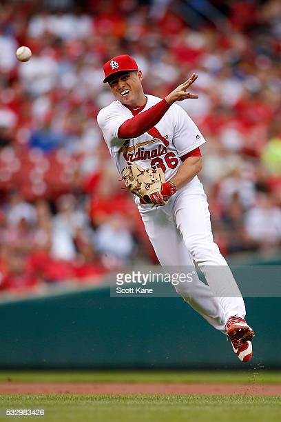 Aledmys Diaz of the St Louis Cardinals makes a play during the second inning against the Colorado Rockies at Busch Stadium on May 19 2016 in St Louis...