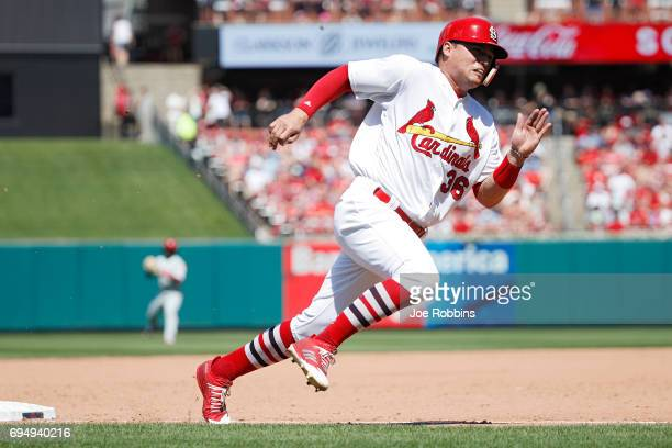 Aledmys Diaz of the St Louis Cardinals rounds the bases on his way to scoring after a single by Tommy Pham in the sixth inning of a game against the...