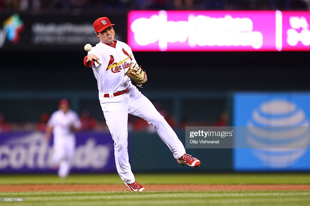 Aledmys Diaz #36 of the St. Louis Cardinals throws a runner out against the Washington Nationals in the third inning at Busch Stadium on April 29, 2016 in St. Louis, Missouri.