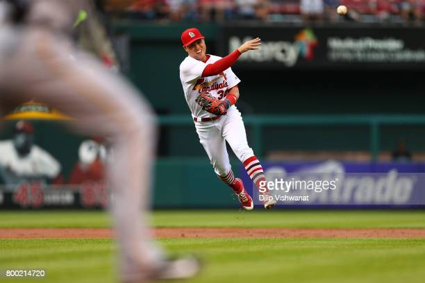 Aledmys Diaz of the St Louis Cardinals throws to first base against the Pittsburgh Pirates in the second inning at Busch Stadium on June 23 2017 in...