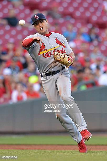 Aledmys Diaz of the St Louis Cardinals throws to first base for the final out of the third inning against the Cincinnati Reds at Great American Ball...