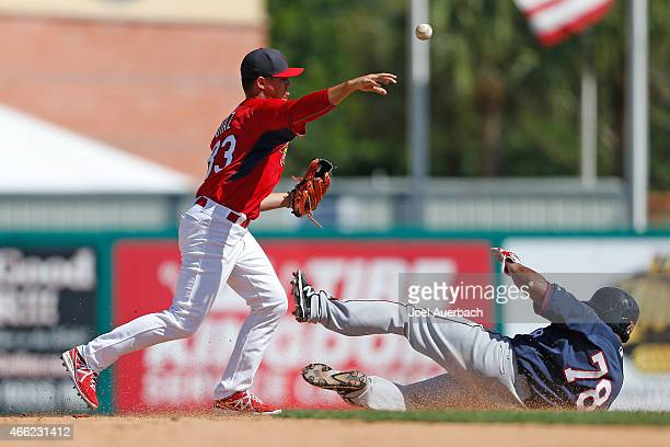 Aledmys Diaz of the St Louis Cardinals turns the double play getting Heiker Meneses of the Minnesota Twins out at second base to end the top of the...
