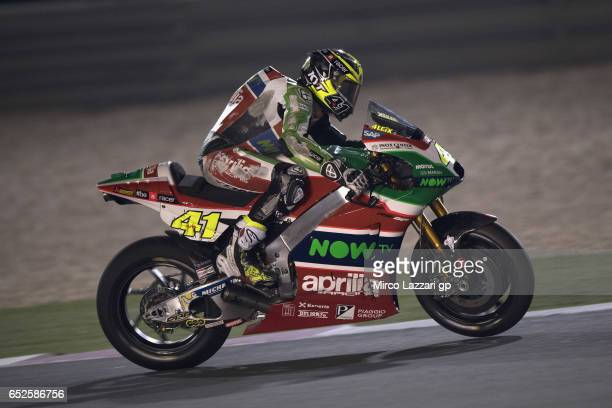 Aleix Espargaro of Spain and Aprilia Racing Team Gresini heads down a straight during the MotoGP Tests In Losail at Losail Circuit on March 12 2017...
