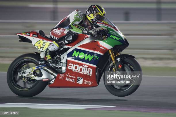 Aleix Espargaro of Spain and Aprilia Racing Team Gresini lifts the front wheel during the MotoGP Tests In Losail at Losail Circuit on March 11 2017...