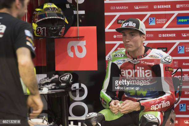 Aleix Espargaro of Spain and Aprilia Racing Team Gresini looks on in box during the MotoGP Tests In Losail at Losail Circuit on March 11 2017 in Doha...