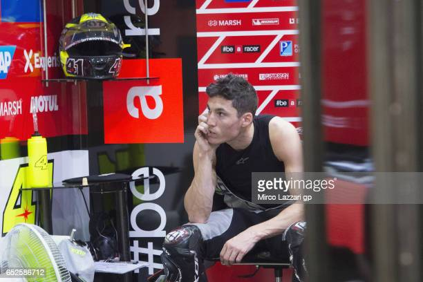Aleix Espargaro of Spain and Aprilia Racing Team Gresini looks on in box during the MotoGP Tests In Losail at Losail Circuit on March 12 2017 in Doha...