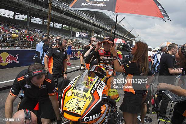 Aleix Espargaro of Spain and NGM Mobile Forward Racing prepares to start on the grid during the MotoGP race during the MotoGp Red Bull US...
