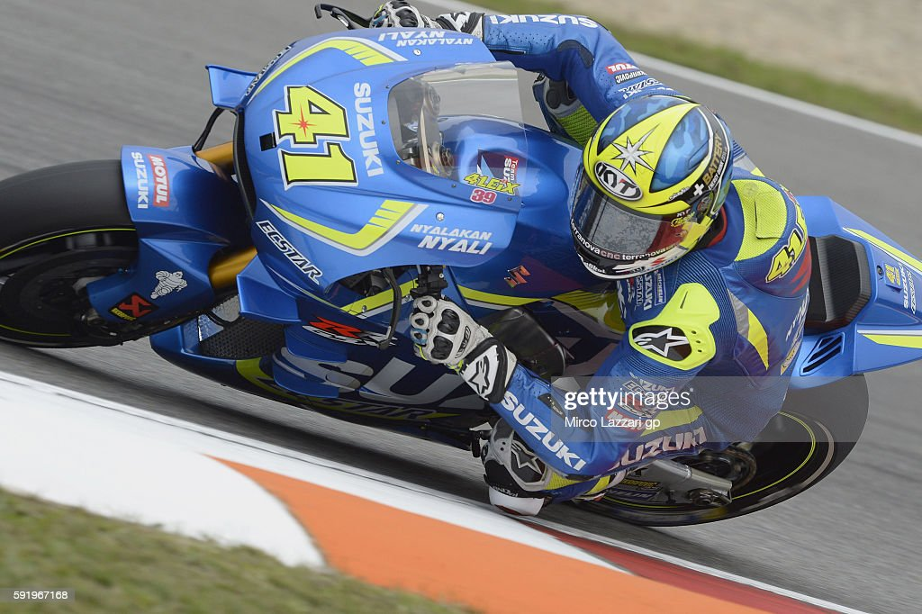 Aleix Espargaro of Spain and Team Suzuki ECSTAR rounds the bend during the MotoGp of Czech Republic - Free Practice at Brno Circuit on August 19, 2016 in Brno, Czech Republic.