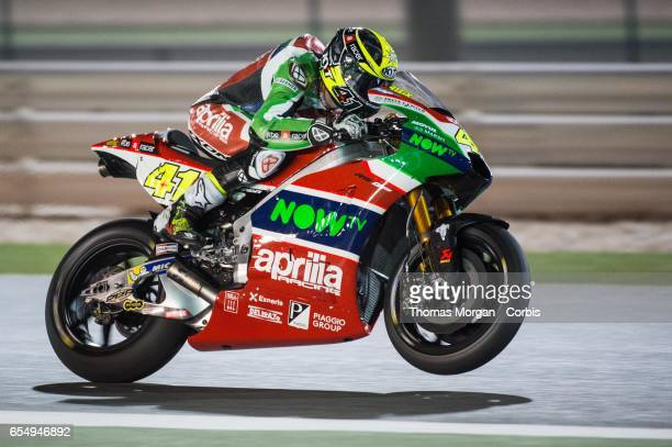 Aleix Espargaro of Spain who rides Aprilia for Aprilia Racing Team Gresini during the final MotoGP winter test at Losail International Circuit on...