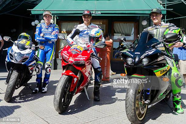 Aleix Espargaro of Team Suzuki Ecstar and Spain Yonny Hernandez of Aspar Team and Colombia and Pol Espargaro of Monster Yamaha Tech 3 and Spain...
