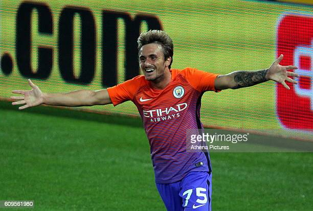 Aleix Garcia of Manchester City celebrates his goal during the EFL Cup Third Round match between Swansea City and Manchester City at The Liberty...