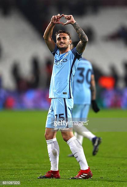 Aleix Garcia of Manchester City celebrates victory during The Emirates FA Cup Third Round match between West Ham United and Manchester City at London...