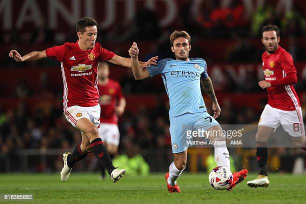 Aleix Garcia of Manchester City competes with Ander Herrera of Manchester United during the EFL Cup Fourth Round match between Manchester United and...