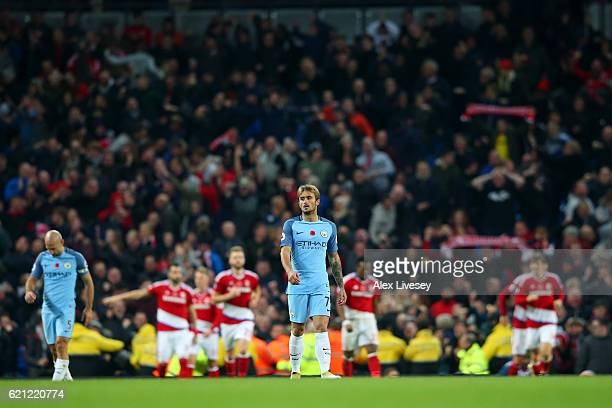 Aleix Garcia of Manchester City is dejected after Middlesbrough score during the Premier League match between Manchester City and Middlesbrough at...