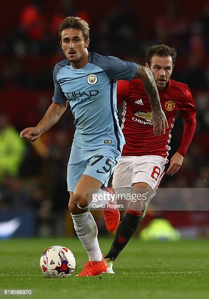 Aleix Garcia of Manchester City runs with the ball during the EFL Cup Fourth Round match between Manchester United and Manchester City at Old...