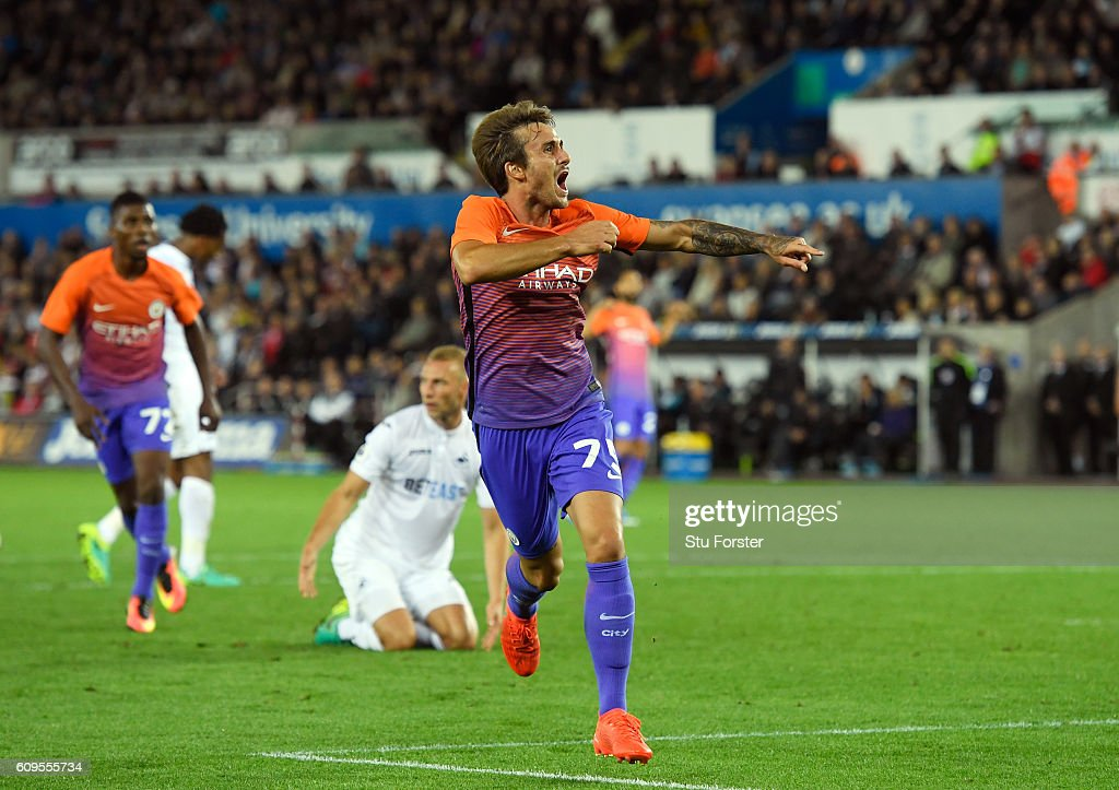 Aleix Garcia Serrano of Manchester City celebrates scoing his sides second goal during the EFL Cup Third Round match between Swansea City and Manchester City at the Liberty Stadium on September 21, 2016 in Swansea, Wales.