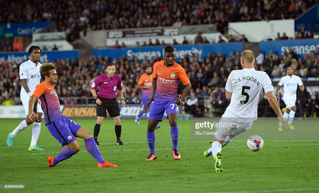 Aleix Garcia Serrano of Manchester City scores his sides second goal during the EFL Cup Third Round match between Swansea City and Manchester City at the Liberty Stadium on September 21, 2016 in Swansea, Wales.