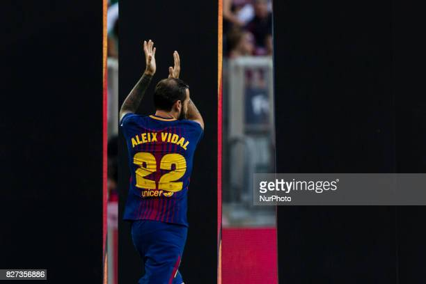 22 Aleix Vidal from Spain of FC Barcelona during the team presentation after the Joan Gamper trophy match between FC Barcelona vs Chapecoense at Camp...
