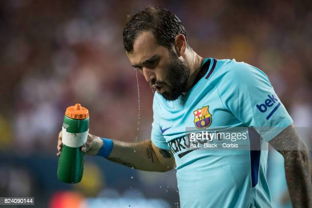 Aleix Vidal of Barcelona cools off during the International Champions Cup match between FC Barcelona and Manchester United at the FedEx Field on July...