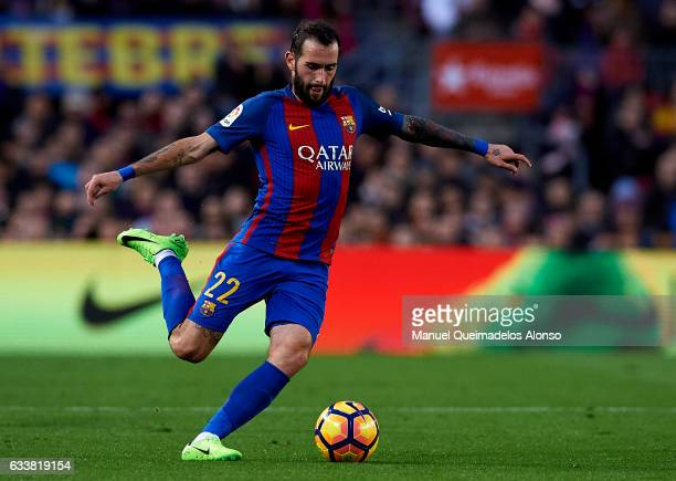 Aleix Vidal of Barcelona in action during the La Liga match between FC Barcelona and Athletic Club at Camp Nou Stadium on February 4 2017 in...