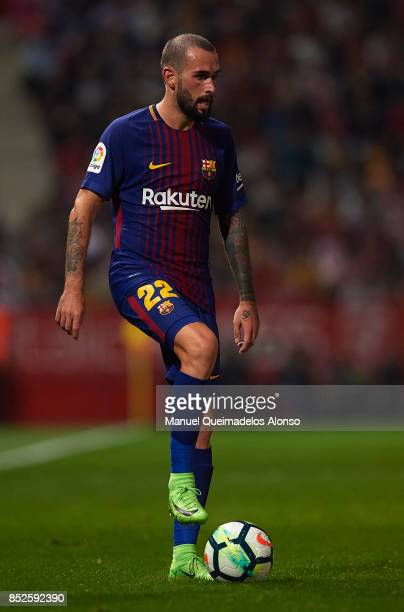 Aleix Vidal of Barcelona in action during the La Liga match between Girona and Barcelona at Municipal de Montilivi Stadium on September 23 2017 in...