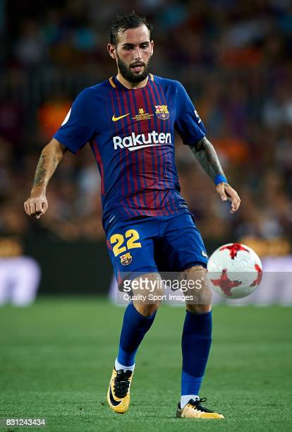 Aleix Vidal of Barcelona in action during the Supercopa de Espana Supercopa Final 1st Leg match between FC Barcelona and Real Madrid at Camp Nou on...