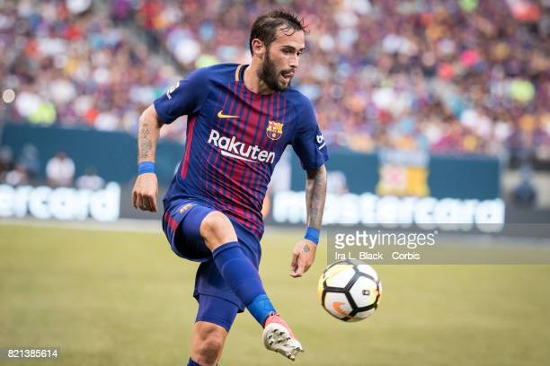 Aleix Vidal of Barcelona keeps control of the ball during the International Champions Cup match between FC Barcelona and Juventus at the MetLife...