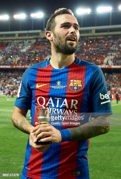 Aleix Vidal of Barcelona looks on after winning the Copa Del Rey Final match between FC Barcelona and Deportivo Alaves at Vicente Calderon stadium on...