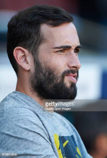 Aleix Vidal of Barcelona looks on prior the La Liga match between FC Barcelona and Villarreal CF at Camp Nou Stadium on May 6 2017 in Barcelona Spain