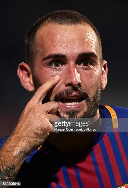 Aleix Vidal of Barcelona reacts during the La Liga match between Girona and Barcelona at Municipal de Montilivi Stadium on September 23 2017 in...