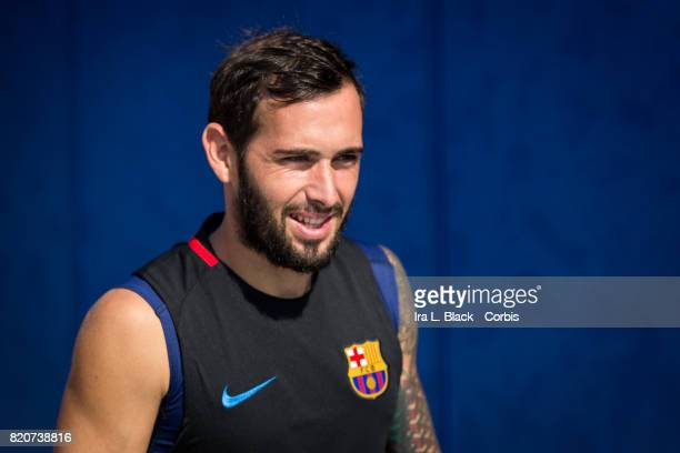 Aleix Vidal of Barcelona takes the field during the International Champions Cup Barcelona training session prior to the match between FC Barcelona...